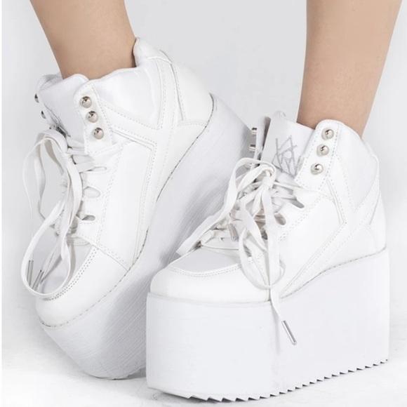 yru white platform sneakers